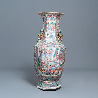 A large Chinese hexagonal famille rose vase, 19th C.