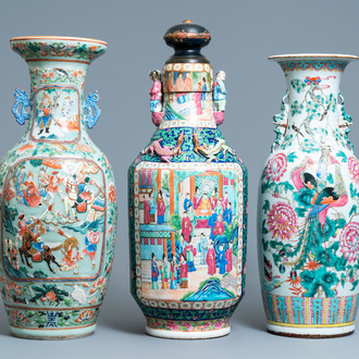 Three Chinese famille rose vases, 19th C.