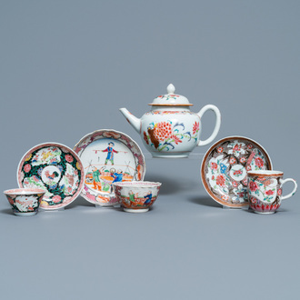 A Chinese famille rose teapot and three cups and saucers, Yongzheng/Qianlong