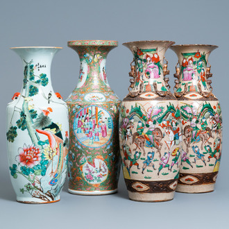 A pair of Chinese Nanking famille rose vases, a Canton vase and a 'phoenixes' vase, 19/20th C.