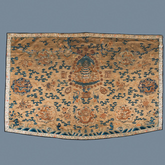 A Chinese embroidered silk fragment of a 'Jiangyi' Taoist priest robe, 18/19th C.