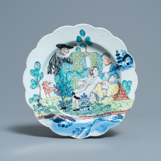 A Dutch-decorated Chinese blue and white plate with a romantic scene, Qianlong