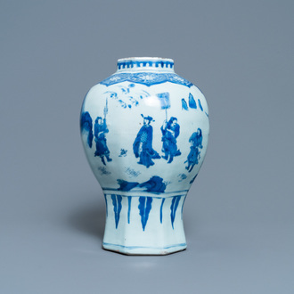 A Chinese blue and white vase with figures in a landscape, Transitional period