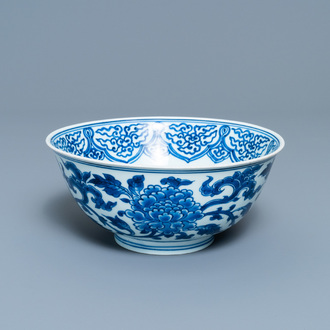 A Chinese blue and white 'peony scroll' bowl, Xuande mark, Kangxi
