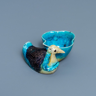 A Chinese aubergine- and turquoise-glazed duck and lotus-shaped water dropper, Kangxi