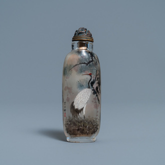 A Chinese inside-painted glass snuff bottle with cranes, signed Ding Erzhong, dated 1895