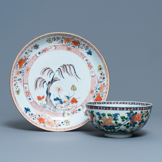 A Chinese famille verte bowl and an iron-red dish, Kangxi