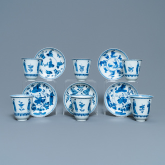 Six large Chinese blue and white cups and five saucers, Yu mark, Kangxi