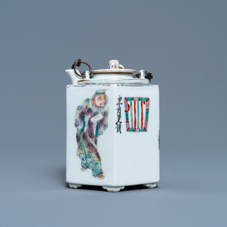 A Chinese famille rose 'Wu Shuang Pu' teapot with insert, 19/20th C.
