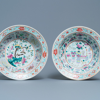 Two Chinese famille rose bowls, 19th C.
