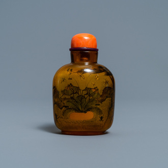 A Chinese inside-painted glass snuff bottle with grasshoppers, attr. to Xue Shaofu, ca. 1900