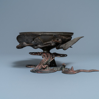 A Japanese copper, bronze and pewter bowl, signed Kimura Toun, Meiji, 19th C.