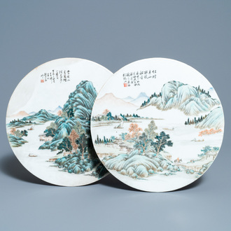 Two round Chinese qianjiang cai 'landscape' plaques, signed Ao Shaoquan and dated 1904
