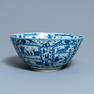 A large Chinese blue and white kraak porcelain bowl, Wanli