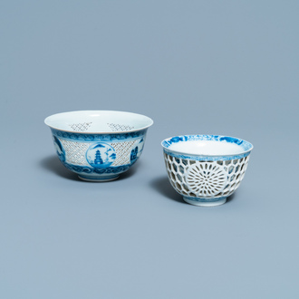 Two Chinese blue and white reticulated bowls, Transitional period and Kangxi