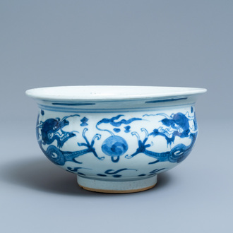 A Chinese blue and white 'dragon' censer, Kangxi