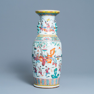 A Chinese famille rose 'playing boys' vase, 19th C.
