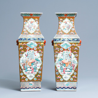 A pair of square Chinese famille rose brown-ground vases, 19th C.