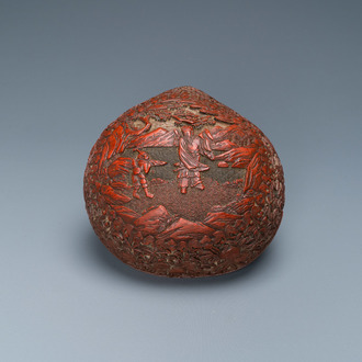 A Chinese red cinnabar lacquer peach-shaped box and cover, Kangxi