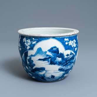A Chinese blue and white jardinière, Kangxi