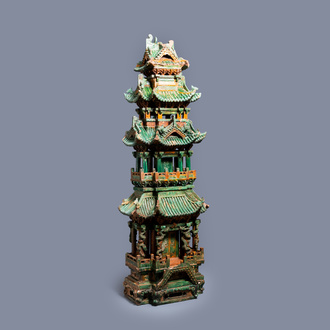 An exceptional large inscribed Chinese sancai-glazed pagoda, dated 1550, Ming
