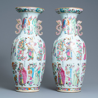 A pair of Chinese Canton famille rose 'Wu Shuang Pu' vases, 19th C.