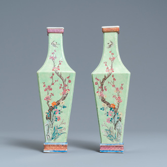 A pair of Chinese famille rose green-ground vases with floral design, 19th C.