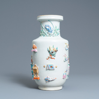 A Chinese famille rose vase with applied 'antiquities' design, Yongzheng