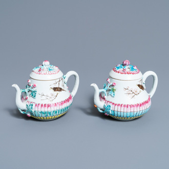 A pair of Chinese famille rose teapots and covers with applied design, Yongzheng