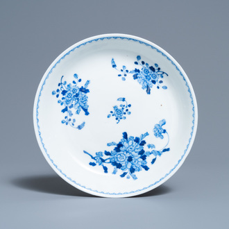 A Chinese blue and white plate with floral design, Guangxu mark and of the period