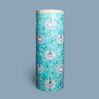 A large Chinese famille rose cylindrical vase with applied lotus scrolls, Jiaqing/Daoguang
