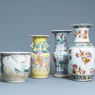 Three Chinese famille rose vases and a jardinière, 19th C.