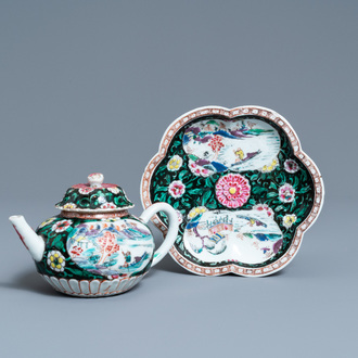 A Chinese famille rose teapot on stand, Yongzheng