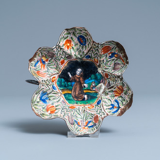 A Limoges enamel bowl depicting Saint Francis and Saint Catharine on the back, France, 1st half 17th C.