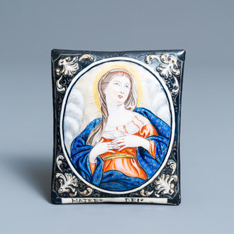 A Limoges enamel plaque depicting the Virgin and inscribed 'Mater Dei', France, 1st half 18th C.