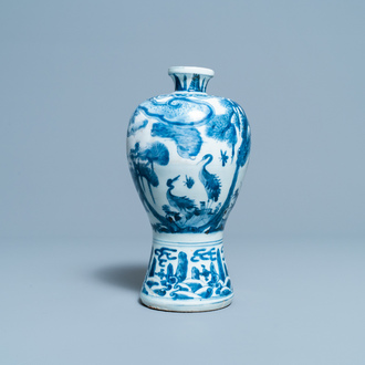 A Chinese blue and white 'meiping' vase with cranes, Wanli