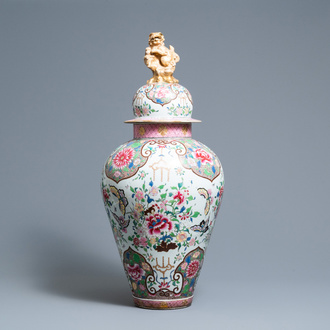 A large famille rose-style vase and cover, Samson, France, 19th C.