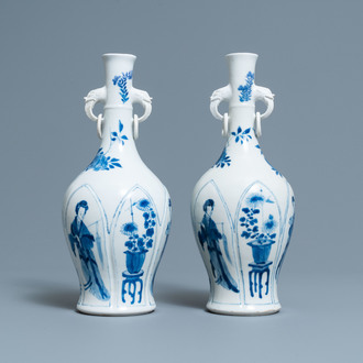 A pair of Chinese blue and white vases with elephant handles, Kangxi