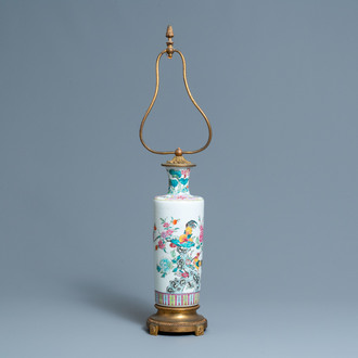 A Chinese lamp-mounted famille rose 'rooster' vase, 19th C.