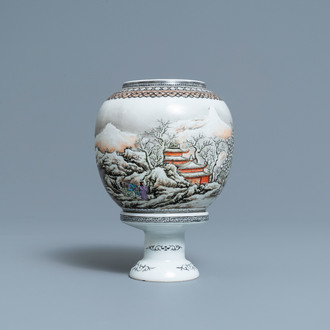 A Chinese eggshell porcelain lantern with a winter landscape, Republic