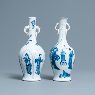 Two Chinese blue and white vases with elephant handles, Kangxi