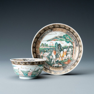A Chinese famille rose 'harvesting' cup and saucer, Yongzheng