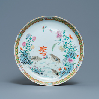 A Chinese famille rose 'quails' dish, 19/20th C.