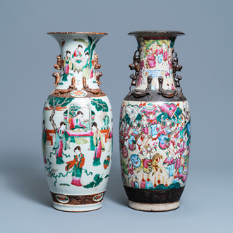 Two Chinese Nanking famille rose crackle-glazed vases, 19th C.