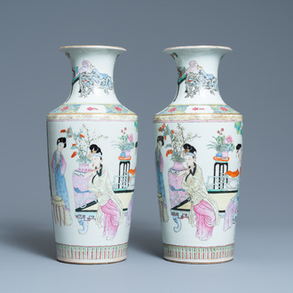 A pair of Chinese famille rose vases, Republic