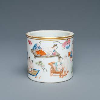 A Chinese famille rose 'erotical subject' brush pot, 1st half 19th C.