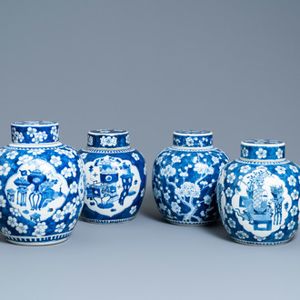 Four Chinese blue and white 'antiquities' jars and covers, 19th C.