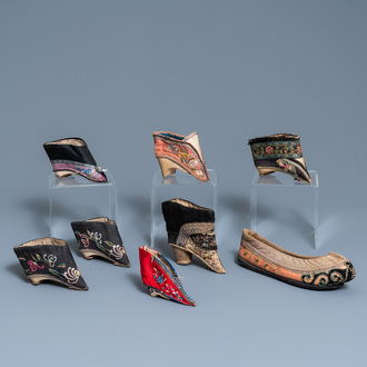 Eight Chinese lotus shoes, 19th C.