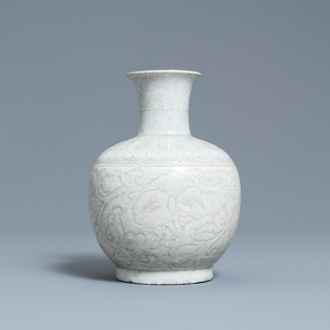 A Chinese qingbai vase with incised floral design, Song