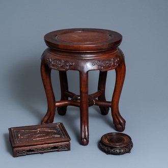 Three Chinese wooden stands, 19/20th C.